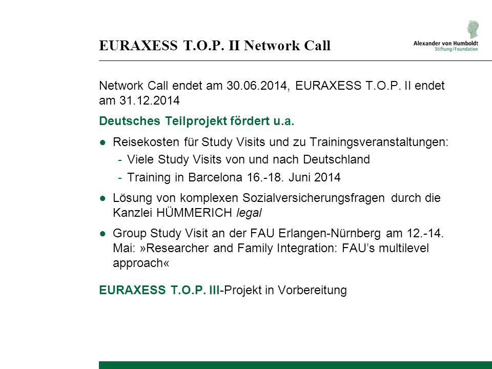 EURAXESS T.O.P. II Network Call Network Call endet am 30.06.2014, EURAXESS T.O.P. II endet am 31.12.2014 Deutsches Teilprojekt fördert u.a. ●Reisekost