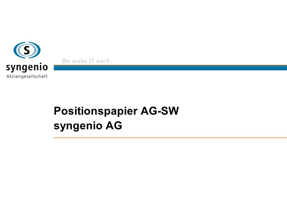 Positionspapier AG-SW syngenio AG