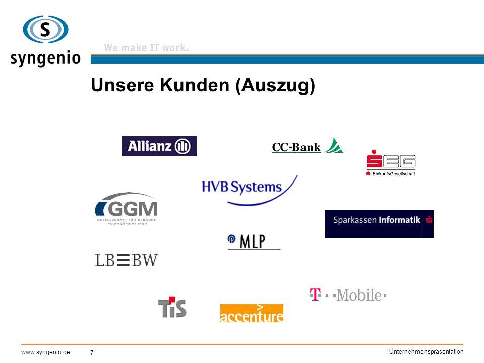 7 www.syngenio.de Unternehmenspräsentation Unsere Kunden (Auszug)