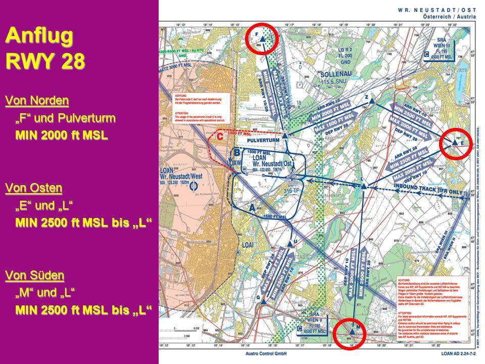 """Peter Merz Neues An-und Abflugverfahren LOAN 5 Anflug RWY 28 Von Norden """"F und Pulverturm """"F und Pulverturm MIN 2000 ft MSL MIN 2000 ft MSL Von Osten """"E und """"L """"E und """"L MIN 2500 ft MSL bis """"L MIN 2500 ft MSL bis """"L Von Süden """"M und """"L """"M und """"L MIN 2500 ft MSL bis """"L MIN 2500 ft MSL bis """"L"""