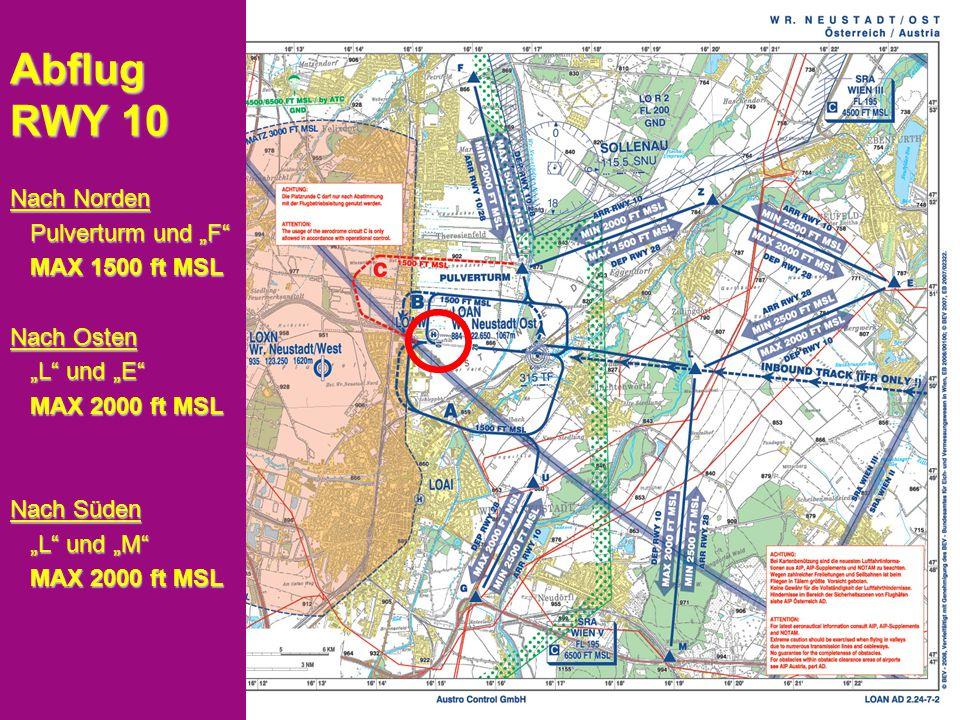 """Peter Merz Neues An-und Abflugverfahren LOAN 7 Anflug RWY 10 Aus Norden """"F und Pulverturm """"F und Pulverturm MIN 2000 ft MSL MIN 2000 ft MSL Aus Osten """"E und """"Z """"E und """"Z MIN 2500 ft MSL MIN 2500 ft MSL """"Z und Pulverturm """"Z und Pulverturm MIN 2000 ft MSL MIN 2000 ft MSL Aus Süden """"G und """"U """"G und """"U MIN 2500 ft MSL bis """"U MIN 2500 ft MSL bis """"U"""