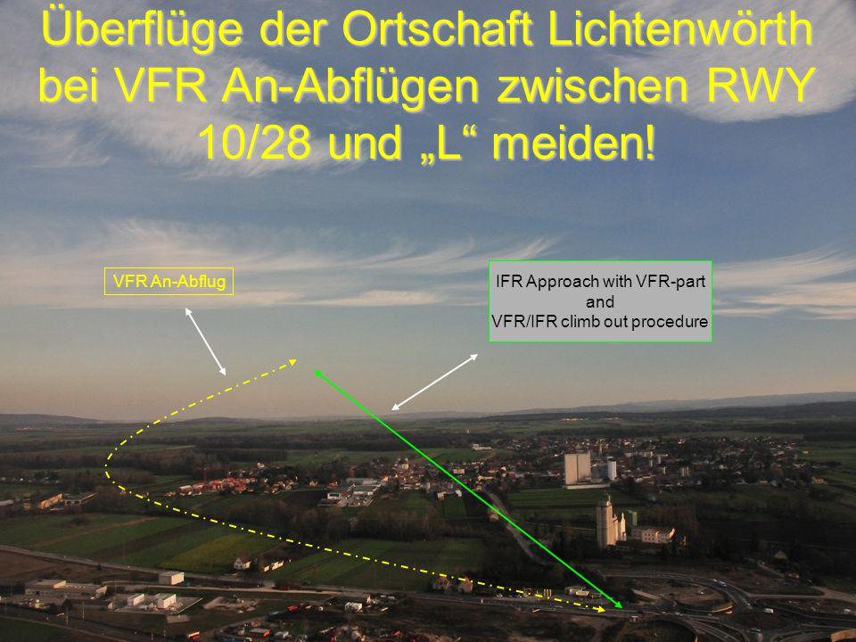 """Peter Merz Neues An-und Abflugverfahren LOAN 9 Überflüge der Ortschaft Lichtenwörth bei VFR An-Abflügen zwischen RWY 10/28 und """"L meiden."""