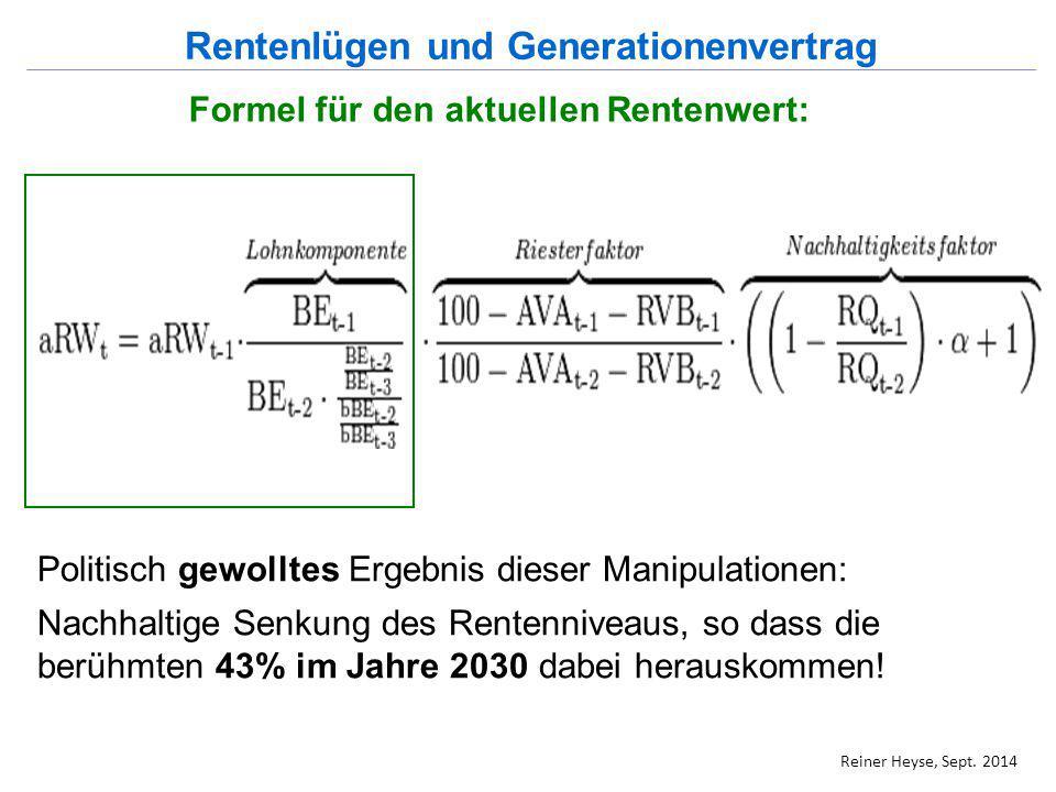 Formel für den aktuellen Rentenwert: Politisch gewolltes Ergebnis dieser Manipulationen: Nachhaltige Senkung des Rentenniveaus, so dass die berühmten