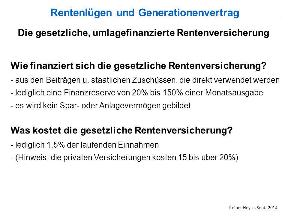 Die gesetzliche, umlagefinanzierte Rentenversicherung Wie finanziert sich die gesetzliche Rentenversicherung? - aus den Beiträgen u. staatlichen Zusch