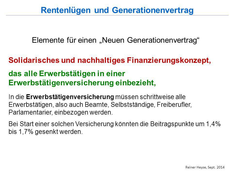 """Elemente für einen """"Neuen Generationenvertrag"""" Solidarisches und nachhaltiges Finanzierungskonzept, das alle Erwerbstätigen in einer Erwerbstätigenver"""