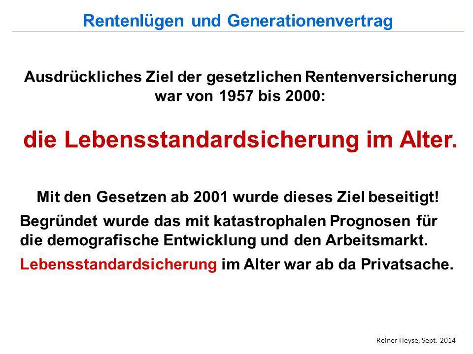 Die gesetzliche, umlagefinanzierte Rentenversicherung Allgemeine Rentenformel der gesetzlichen Rentenversicherung: Rente = EP x aRW im Arbeitsleben erzielte aktueller Rentenwert Entgeltpunkte (2014: 28,61€) Reiner Heyse, Sept.