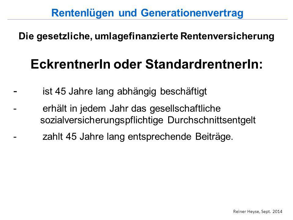 Die gesetzliche, umlagefinanzierte Rentenversicherung Eckrente oder Standardrente: Beiträge auf Durchschnittseinkommen pro Jahr bringen einen Entgeltpunkt, Halbes Durchschnittseinkommen: 0,5 EP Doppeltes Durchschnittseinkommen: 2 EP Eckrente = 45 EP x aktueller Rentenwert 2014/2015 beträgt die Eckrente: 45 x 28,61€ = 1287,45€ Rentenlügen und Generationenvertrag Reiner Heyse, Sept.