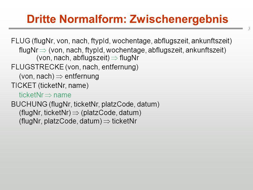 3 Dritte Normalform: Zwischenergebnis FLUG (flugNr, von, nach, ftypId, wochentage, abflugszeit, ankunftszeit) flugNr  (von, nach, ftypId, wochentage,