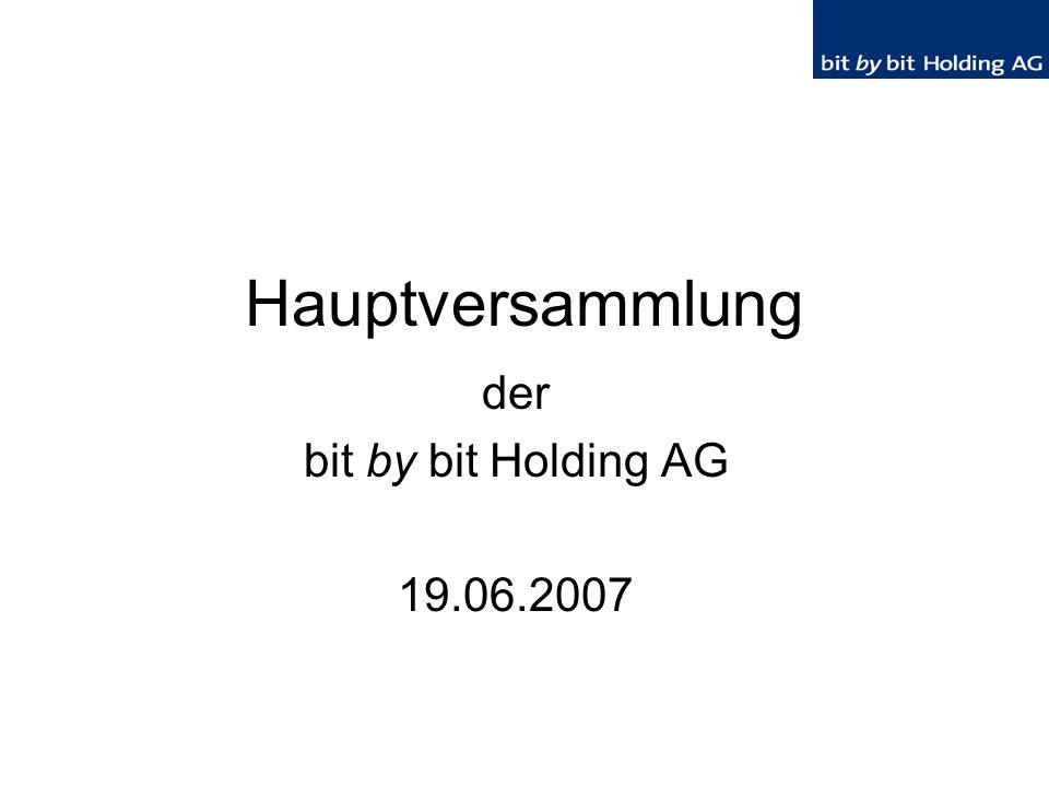 12 Aktivitäten in 2006 Verkauf von Anteilen an der http.net AG zu 2,50 € pro Aktie Beteiligungsaufstockung bei der advantec Beteiligungskapital AG & Co.
