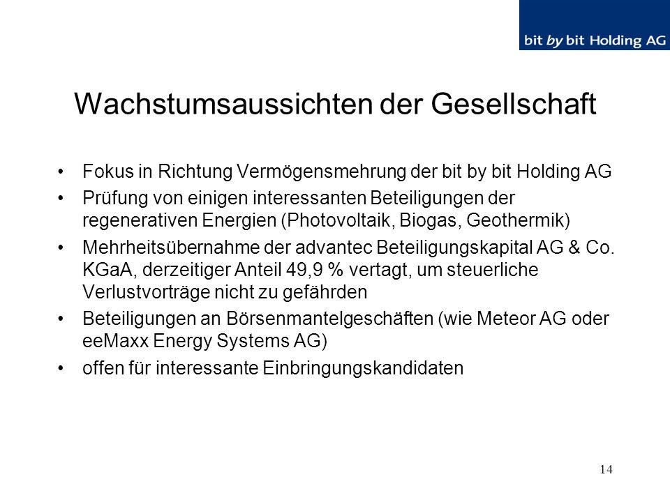 14 Wachstumsaussichten der Gesellschaft Fokus in Richtung Vermögensmehrung der bit by bit Holding AG Prüfung von einigen interessanten Beteiligungen der regenerativen Energien (Photovoltaik, Biogas, Geothermik) Mehrheitsübernahme der advantec Beteiligungskapital AG & Co.