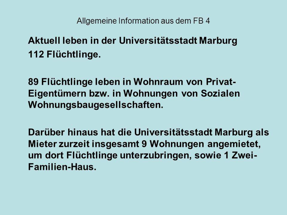 Allgemeine Information aus dem FB 4 Aktuell leben in der Universitätsstadt Marburg 112 Flüchtlinge. 89 Flüchtlinge leben in Wohnraum von Privat- Eigen