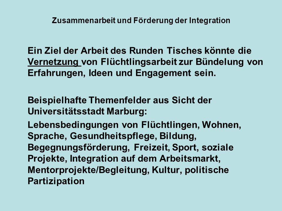 Zusammenarbeit und Förderung der Integration Ein Ziel der Arbeit des Runden Tisches könnte die Vernetzung von Flüchtlingsarbeit zur Bündelung von Erfa