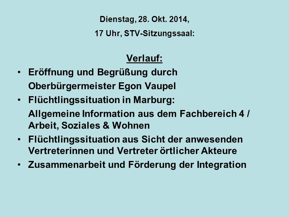 Dienstag, 28. Okt. 2014, 17 Uhr, STV-Sitzungssaal: Verlauf: Eröffnung und Begrüßung durch Oberbürgermeister Egon Vaupel Flüchtlingssituation in Marbur