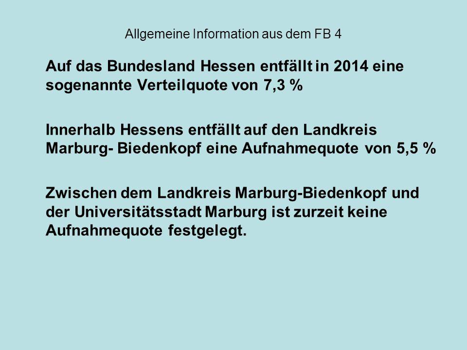 Allgemeine Information aus dem FB 4 Es gehört auch zum Selbstverständnis und zum politischen Willen, in der Universitätsstadt Marburg Flüchtlinge willkommen zu heißen, sie aufzunehmen, unterzubringen und zu versorgen, um zu einen effektiven Schutz vor Verfolgung im Herkunftsland beizutragen.