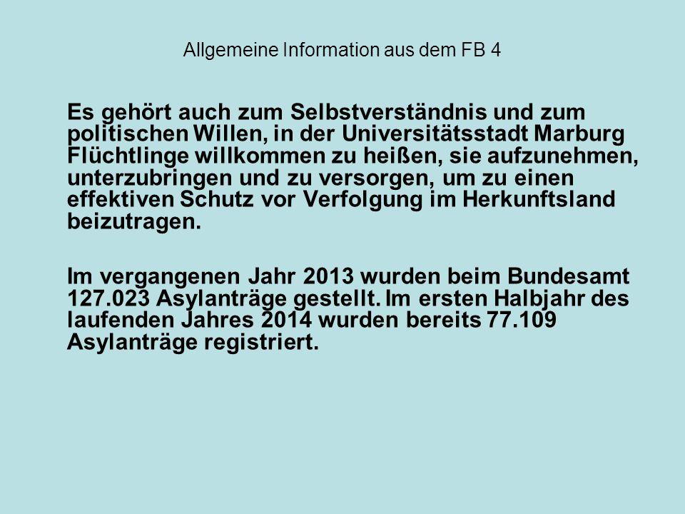 Allgemeine Information aus dem FB 4 Nach Veröffentlichungen des Bundesamtes sind die 10 stärksten Herkunftsländer: 1.Syrien (12.077 Asylanträge) 2.Serbien (6.278) 3.Afghanistan (4.219) 4.Eritrea (3.946) 5.Albanien (3.847) 6.Somalia (2.782) 7.Mazedonien (2.505) 8.Bosnien und Herzegowina (2.438) 9.Russische Föderation (2.322) 10.Irak (2.076)