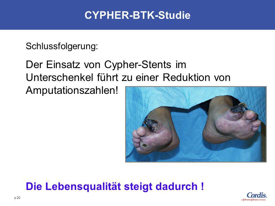 p 20 CYPHER-BTK-Studie Schlussfolgerung: Der Einsatz von Cypher-Stents im Unterschenkel führt zu einer Reduktion von Amputationszahlen! Die Lebensqual