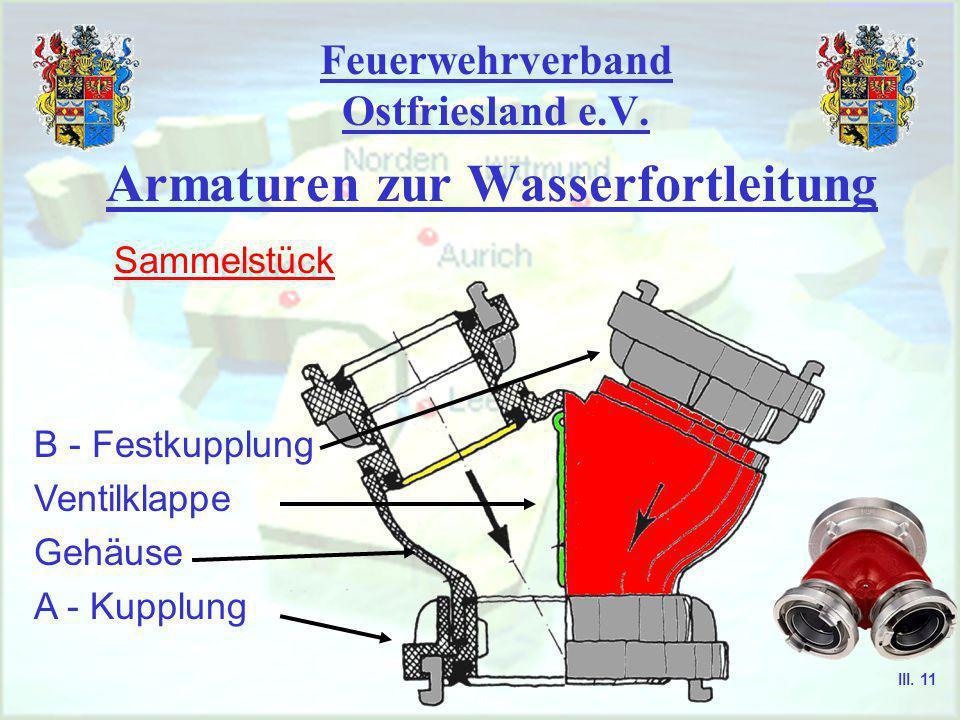 Feuerwehrverband Ostfriesland e.V. Armaturen zur Wasserfortleitung Sammelstück Verteiler Druckbegrenzungs- ventil Zumischer III. 10