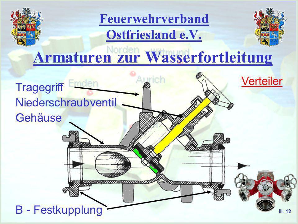 Feuerwehrverband Ostfriesland e.V. Armaturen zur Wasserfortleitung Sammelstück B - Festkupplung Ventilklappe Gehäuse A - Kupplung III. 11