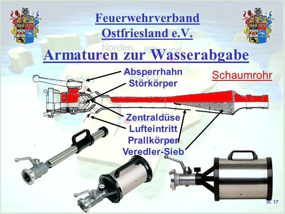 Feuerwehrverband Ostfriesland e.V. Armaturen zur Wasserabgabe S chaumrohr S trahlrohr S tützkrümmer H ydroschild III. 16