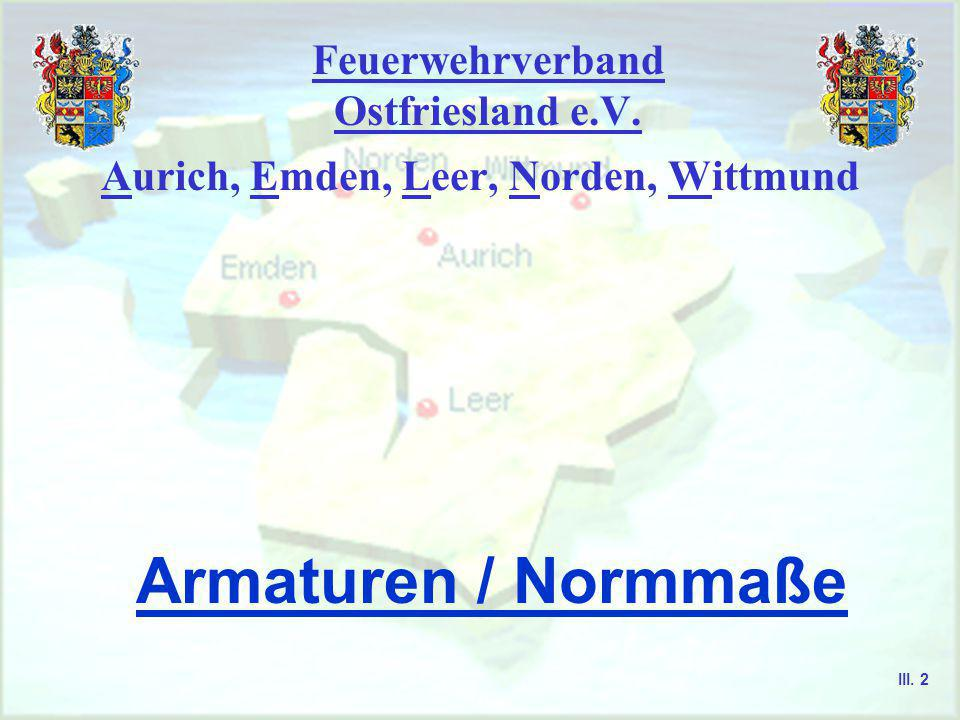 Feuerwehrverband Ostfriesland e.V.Aurich, Emden, Leer, Norden, Wittmund Armaturen / Normmaße III.