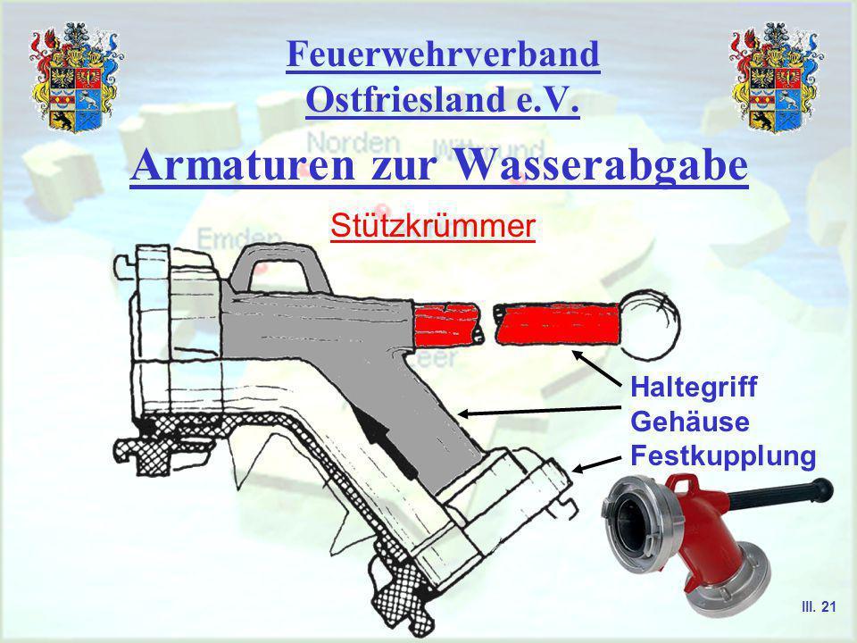 Feuerwehrverband Ostfriesland e.V. Armaturen zur Wasserabgabe Hohlstrahlrohr ggf. Wassermengenstellrad z.B. von 20 Liter bis 486 Liter Durchflußmenge