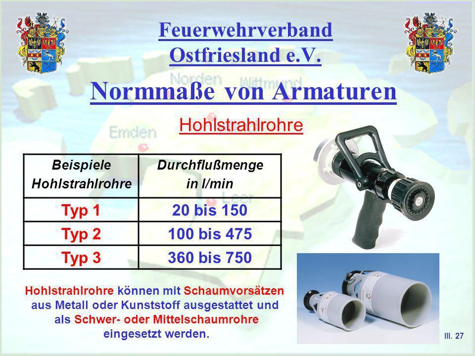 Feuerwehrverband Ostfriesland e.V. Normmaße von Armaturen Mehrzweckstrahlrohre Strahl- rohre Innendurchmesser für Mundst. Düse mm Wasserdurchfluß als