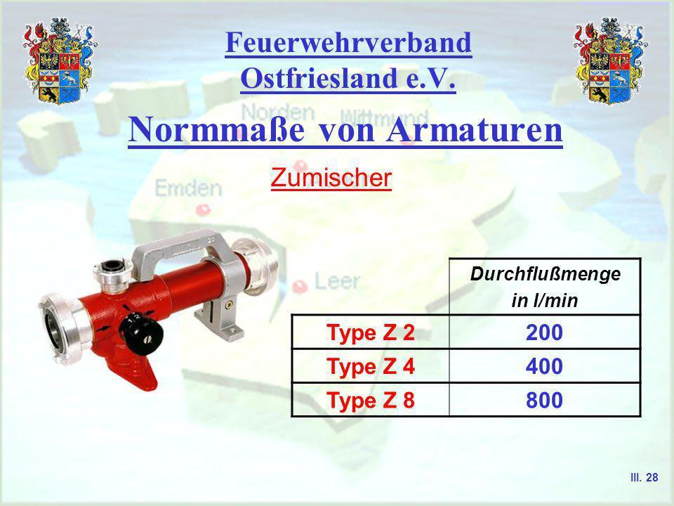 Feuerwehrverband Ostfriesland e.V. Normmaße von Armaturen Hohlstrahlrohre Beispiele Hohlstrahlrohre Durchflußmenge in l/min Typ 120 bis 150 Typ 2100 b