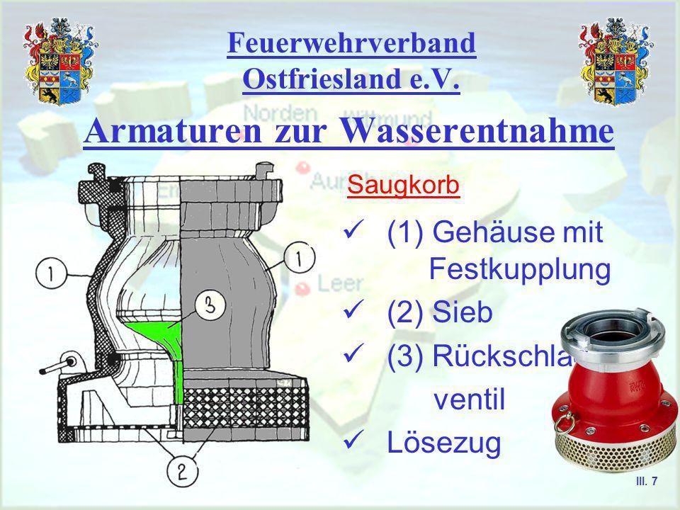 Feuerwehrverband Ostfriesland e.V. Armaturen zur Wasserentnahme Saugkorb & Kellersaugkorb Wasserstrahlpumpe Standrohr III. 6