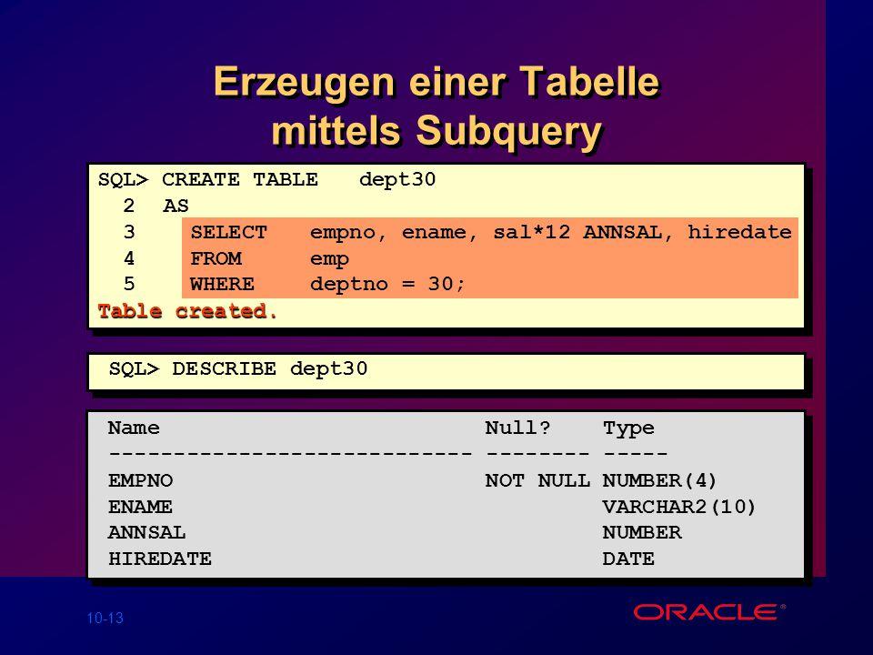 10-13 Erzeugen einer Tabelle mittels Subquery Name Null.