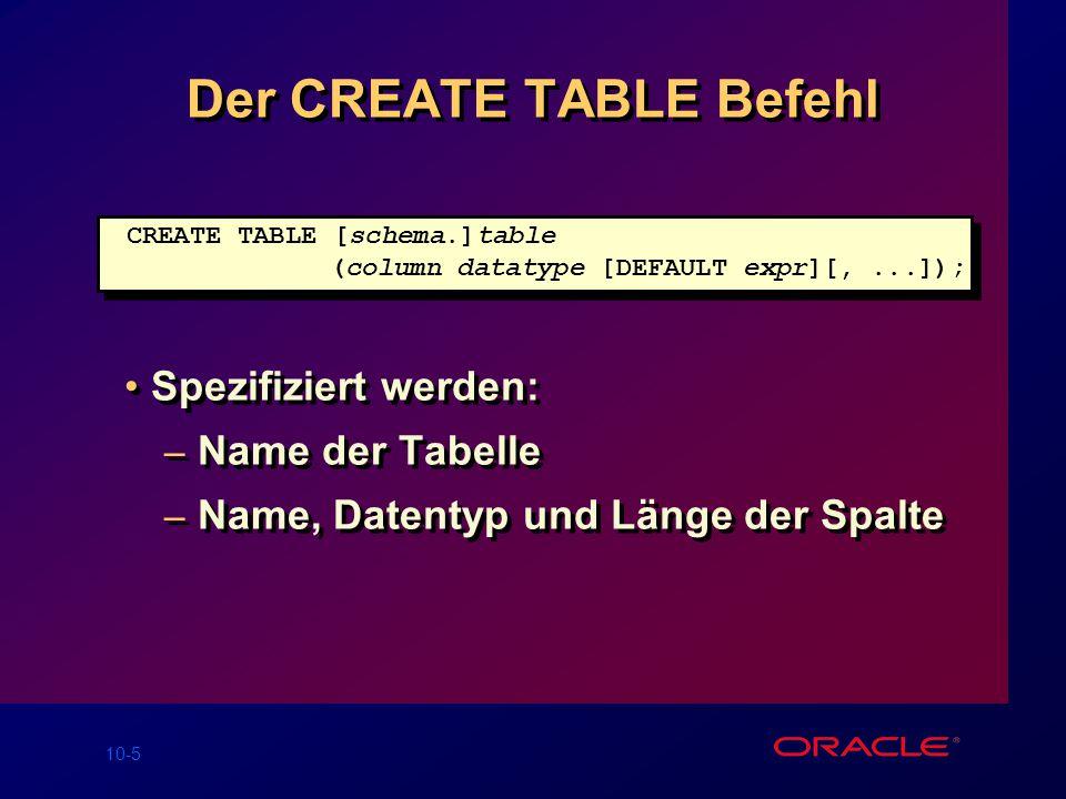 10-5 Der CREATE TABLE Befehl Spezifiziert werden: – Name der Tabelle – Name, Datentyp und Länge der Spalte Spezifiziert werden: – Name der Tabelle – Name, Datentyp und Länge der Spalte CREATE TABLE [schema.]table (column datatype [DEFAULT expr][,...]);