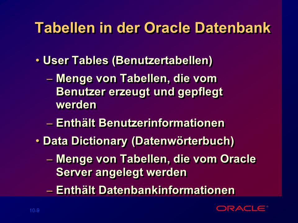 10-10 Anfragen im Data Dictionary Tabellen, die dem Benutzer gehören.