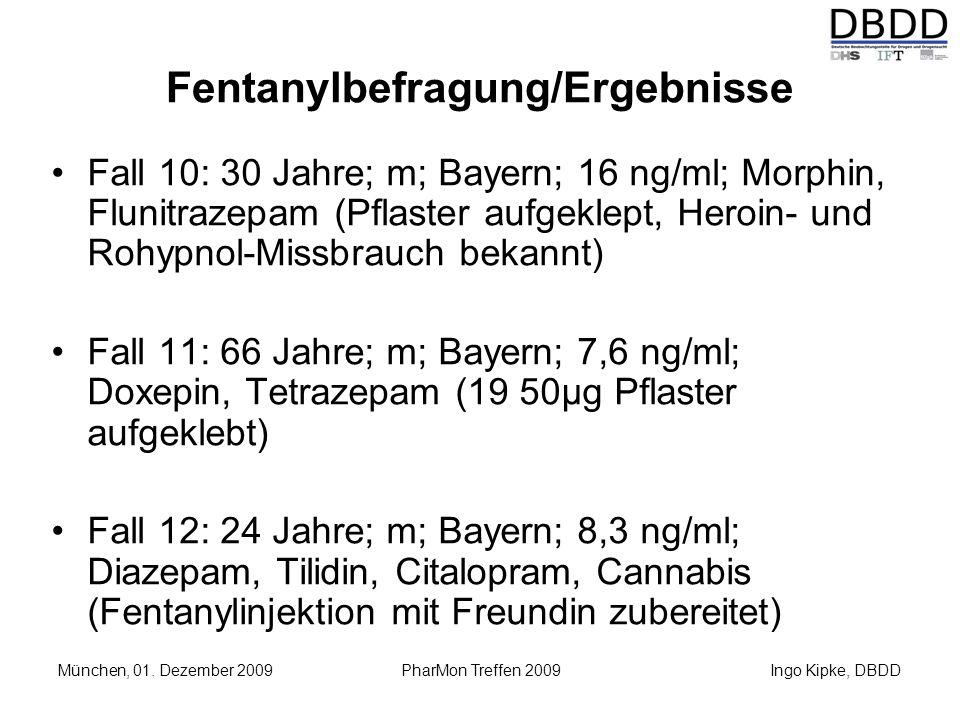 Ingo Kipke, DBDD München, 01. Dezember 2009 PharMon Treffen 2009 Fentanylbefragung/Ergebnisse Fall 10: 30 Jahre; m; Bayern; 16 ng/ml; Morphin, Flunitr