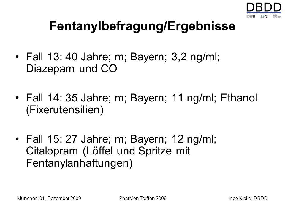 Ingo Kipke, DBDD München, 01. Dezember 2009 PharMon Treffen 2009 Fentanylbefragung/Ergebnisse Fall 13: 40 Jahre; m; Bayern; 3,2 ng/ml; Diazepam und CO