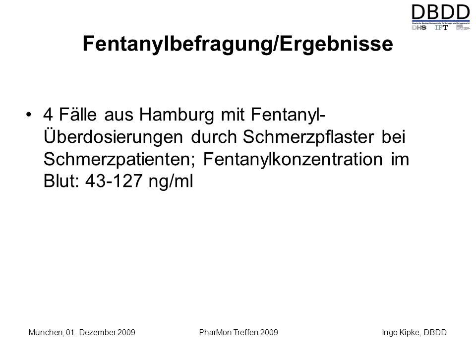 Ingo Kipke, DBDD München, 01. Dezember 2009 PharMon Treffen 2009 Fentanylbefragung/Ergebnisse 4 Fälle aus Hamburg mit Fentanyl- Überdosierungen durch