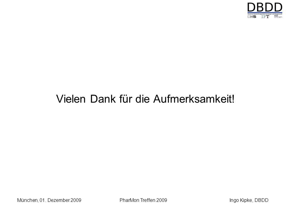Ingo Kipke, DBDD München, 01. Dezember 2009 PharMon Treffen 2009 Vielen Dank für die Aufmerksamkeit!