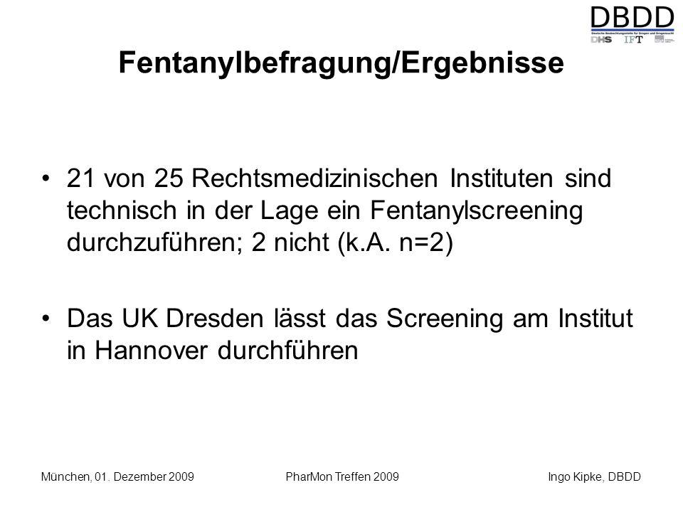 Ingo Kipke, DBDD München, 01. Dezember 2009 PharMon Treffen 2009 Fentanylbefragung/Ergebnisse 21 von 25 Rechtsmedizinischen Instituten sind technisch