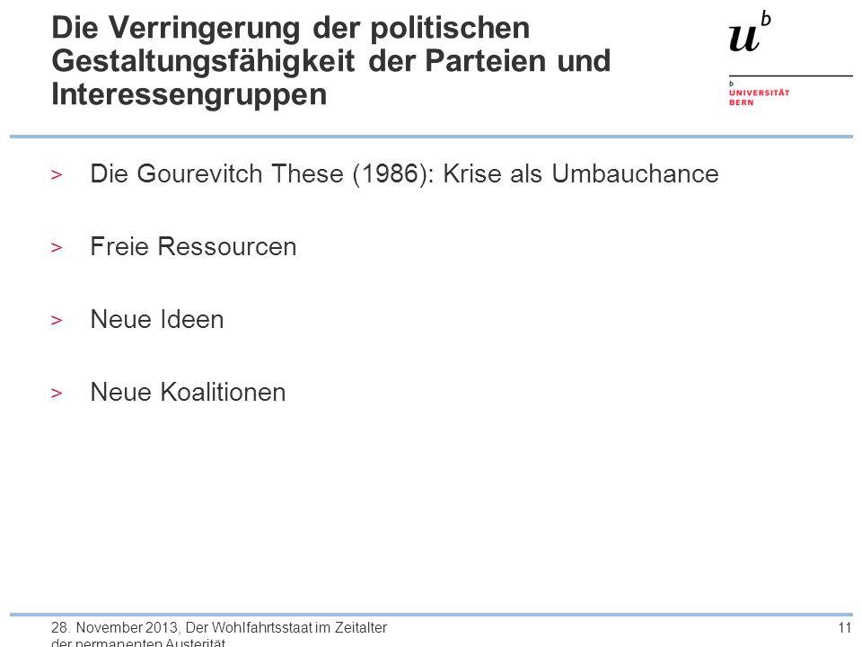 Die Verringerung der politischen Gestaltungsfähigkeit der Parteien und Interessengruppen > Die Gourevitch These (1986): Krise als Umbauchance > Freie Ressourcen > Neue Ideen > Neue Koalitionen 28.