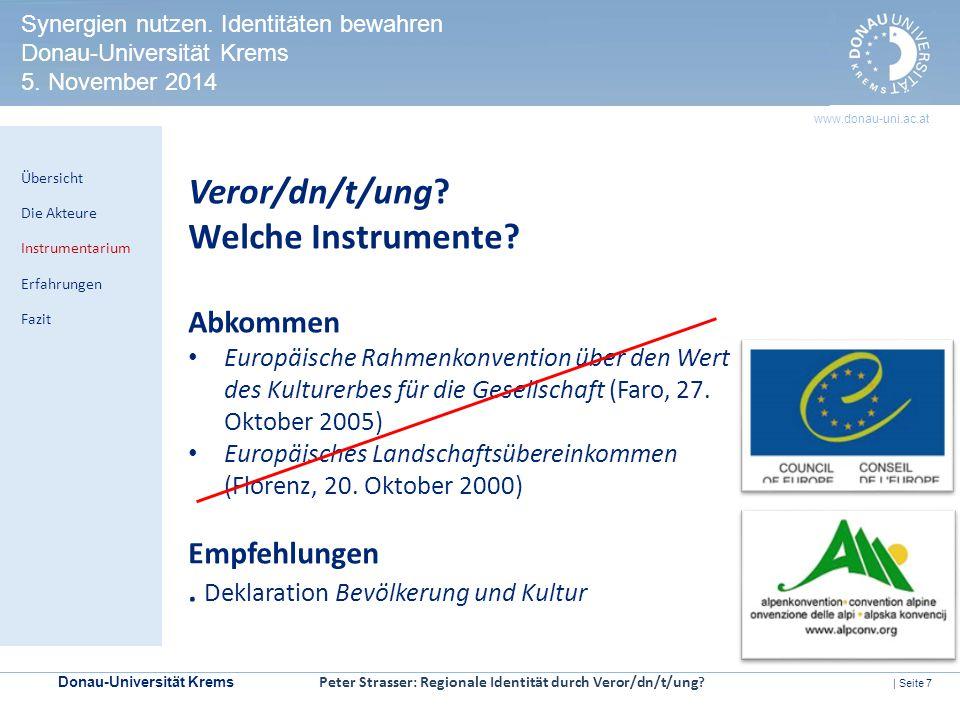 Donau-Universität Krems | Seite 7 www.donau-uni.ac.at HERITAGE IMPACT ASSESSMENT Kontrollmechanismen zur Prüfung der Welterbeverträglichkeit in UNESCO-Welterbestätten Veror/dn/t/ung.