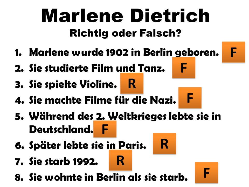 Marlene Dietrich (HO S. 6) Hör zu und schreibe Notizen!