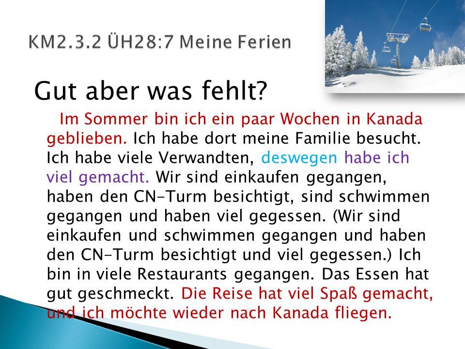 Der Schluss  Guter Schluss: Meine Ferien haben viel Spaß gemacht und ich möchte wieder Ferien in Deutschland haben (verbringen). Meine Ferien waren s