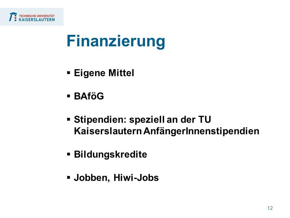 12  Eigene Mittel  BAföG  Stipendien: speziell an der TU Kaiserslautern AnfängerInnenstipendien  Bildungskredite  Jobben, Hiwi-Jobs Finanzierung