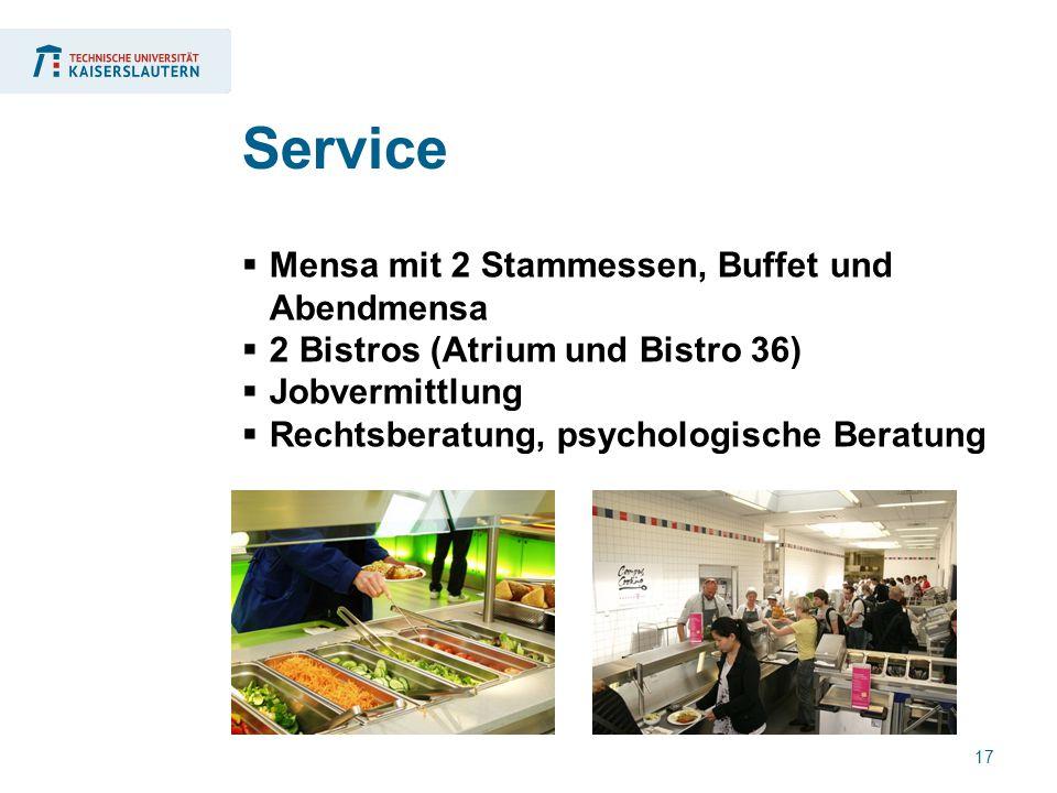 17  Mensa mit 2 Stammessen, Buffet und Abendmensa  2 Bistros (Atrium und Bistro 36)  Jobvermittlung  Rechtsberatung, psychologische Beratung Service
