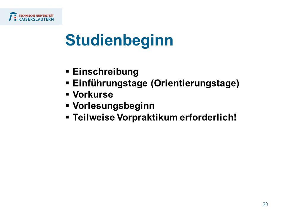 20  Einschreibung  Einführungstage (Orientierungstage)  Vorkurse  Vorlesungsbeginn  Teilweise Vorpraktikum erforderlich! Studienbeginn