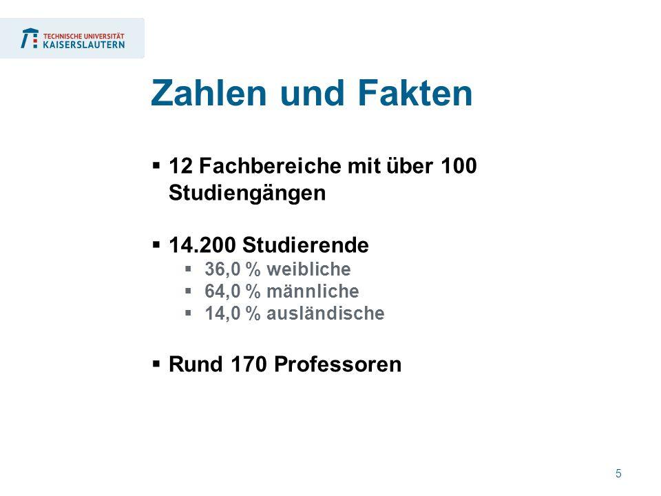 5  12 Fachbereiche mit über 100 Studiengängen  14.200 Studierende  36,0 % weibliche  64,0 % männliche  14,0 % ausländische  Rund 170 Professoren Zahlen und Fakten