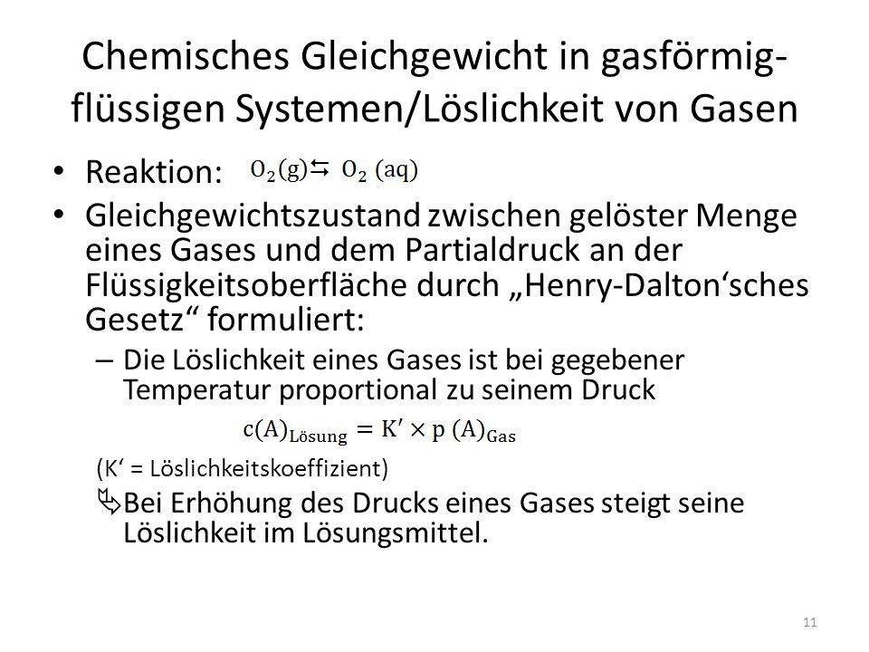 """Chemisches Gleichgewicht in gasförmig- flüssigen Systemen/Löslichkeit von Gasen Reaktion: Gleichgewichtszustand zwischen gelöster Menge eines Gases und dem Partialdruck an der Flüssigkeitsoberfläche durch """"Henry-Dalton'sches Gesetz formuliert: – Die Löslichkeit eines Gases ist bei gegebener Temperatur proportional zu seinem Druck (K' = Löslichkeitskoeffizient)  Bei Erhöhung des Drucks eines Gases steigt seine Löslichkeit im Lösungsmittel."""
