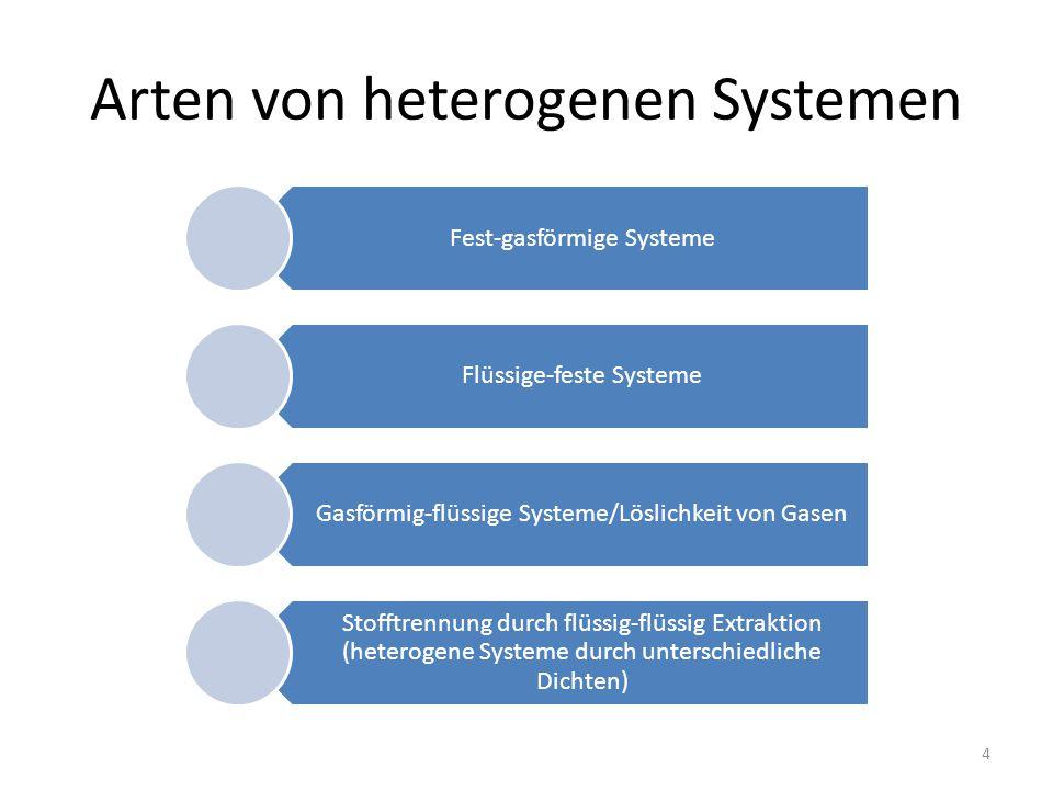 Arten von heterogenen Systemen Fest-gasförmige Systeme Flüssige-feste Systeme Gasförmig-flüssige Systeme/Löslichkeit von Gasen Stofftrennung durch flüssig-flüssig Extraktion (heterogene Systeme durch unterschiedliche Dichten) 4