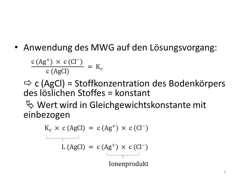Anwendung des MWG auf den Lösungsvorgang:  c (AgCl) = Stoffkonzentration des Bodenkörpers des löslichen Stoffes = konstant  Wert wird in Gleichgewichtskonstante mit einbezogen 8