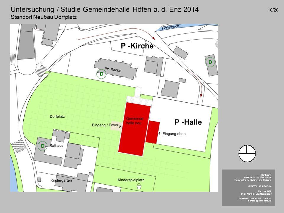 Untersuchung / Studie Gemeindehalle Höfen a. d. Enz 2014 Standort Neubau Dorfplatz 10/20