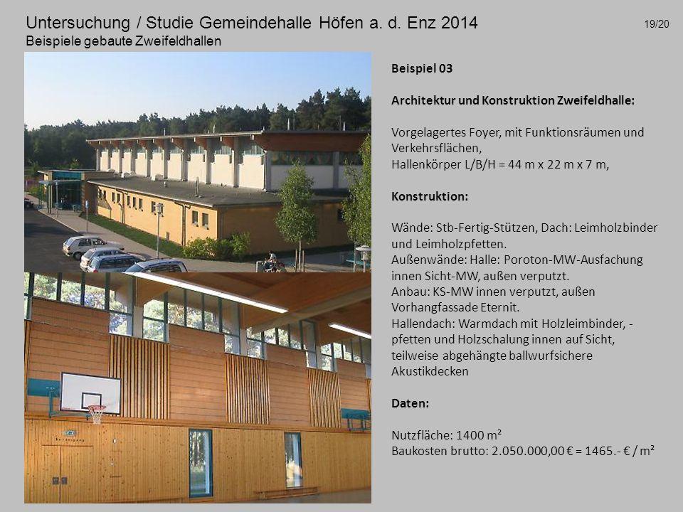 Untersuchung / Studie Gemeindehalle Höfen a. d.