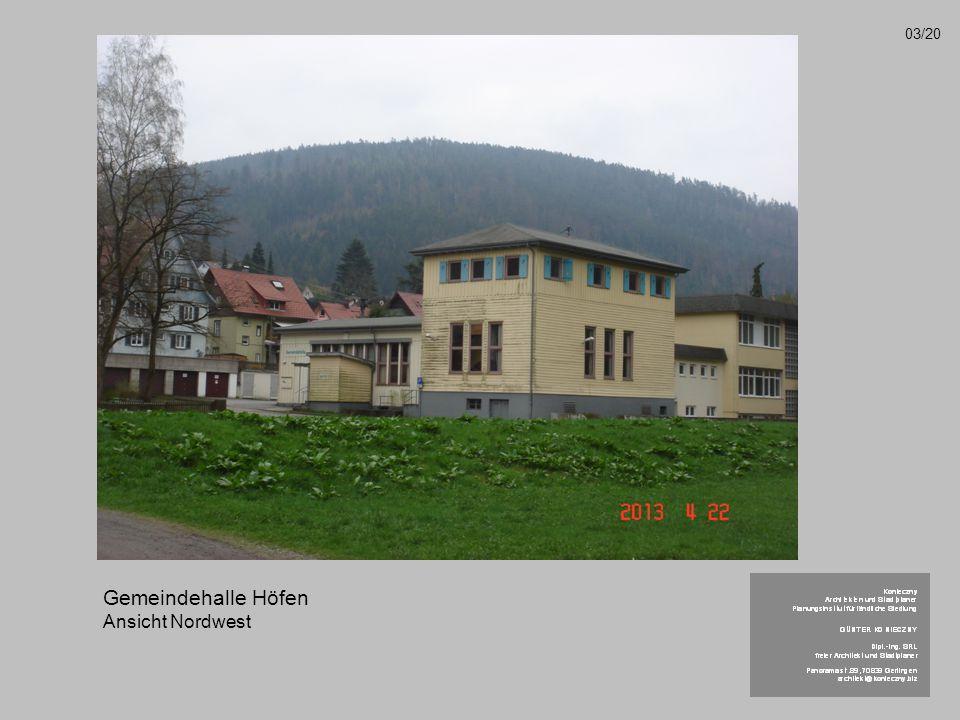 Gemeindehalle Höfen Ansicht Nordwest 03/20
